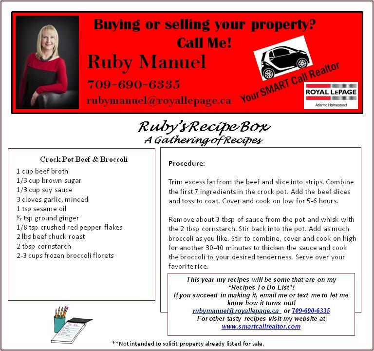 Recipes | RUBY MANUEL, Royal LePage Atlantic Homestead